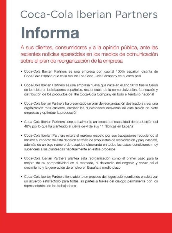Coca-Cola y su crisis de reputación por la gestión del ERE