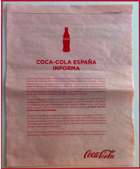 Coca-Cola y su gestión de la comunicación durante el ERE