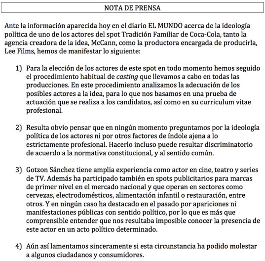 Coca Cola y la polémica anuncio actor Gotzon Sánchez retirada su emisión de la televisión. Comunicación de crisis de Coca-Cola.