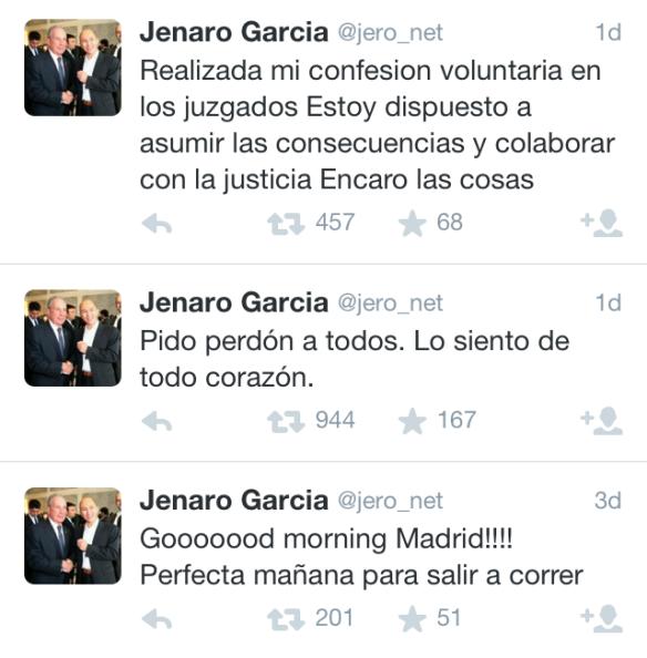 Tuits de Jenaro García, CEO de Gowex