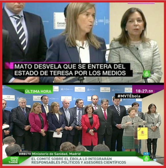 La mala gestión en la crisis sanitaria de comunicación por el caso de ébola en España se ha caracterizado por la improvisación y falta de información que han llevado a la desconfianza, caos colectivo, mala imagen internacional y creciente indignación ciudadana, de profesionales sanitarios y medios de comunicación.