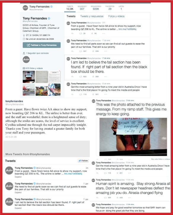 AirAsia destaca por su gestión digital en comunicación de crisis ante la tragedia de su avión con vuelo QZ8501 de Surabaya (Java) a Singapur que el pasado 28 de diciembre desapareció. La compañía aérea de bajo coste se ha valido a la hora de comunicar y gestionar esta crisis de Internet, el uso de smartphones  y las redes sociales para informar y dialogar de manera efectiva con todos sus públicos: desde los medios de comunicación, a los familiares de los pasajeros que volaban en el avión a los trabajadores de la compañía y la sociedad en general. Facebook y Twitter son los canales prioritarios de una gestión de comunicación rápida, coordinada, transparente y con mensajes creíbles y humanizados que ha puesto de manifiesto la importancia de  emplear y saber gestionar las redes sociales en situaciones de crisis y emergencias.