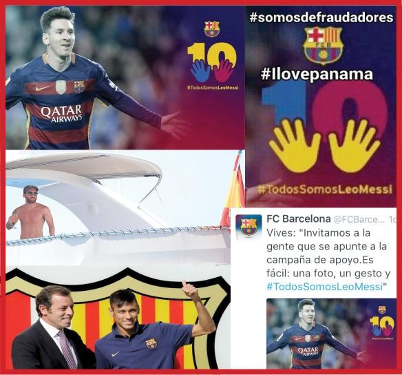 La crisis de comunicación corporativa del Fútbol Club Barcelona ante la campaña en redes sociales de apoyo a Leo Messi #TodosSomosLeoMessi. El hashtag de la campaña online de comunicación en Twitter y Facebook ha supuesto una dura crítica al comportamiento del club por su defensa del futbolista por encima a ser condenado por delito fiscal.