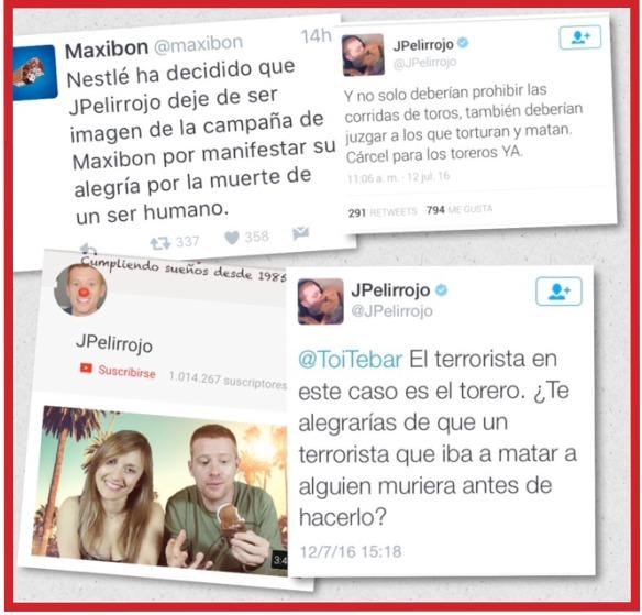 La crisis online de comunicación en las redes sociales con el hashtag #BoicotMaxibom ante las declaraciones del influencer youtuber JPelirrojo alegrándose por la muerte del torero Victor Barrio.