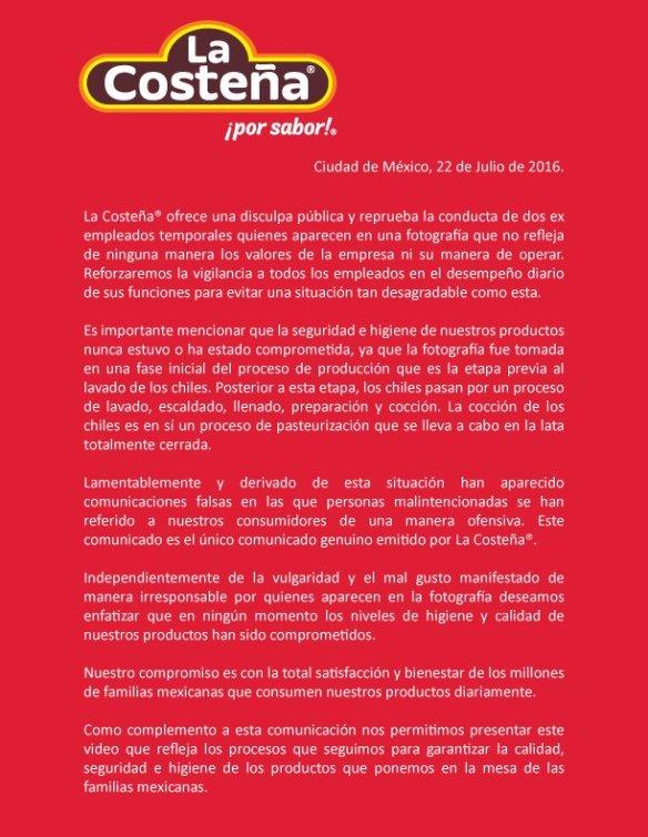 La imagen y reputación de la empresa mexicana La Costeña está en entredicho y dañada al vivir una crisis de comunicación iniciada al hacer viral una foto en las redes sociales. La imagen selfie de dos trabajadores en postura de estar orinando en la línea de producción de la limpieza de los chiles desató una crisis online que no fue atendida en tiempo y forma: tardaron muchos días en responder en sus perfiles de Twitter y Facebook y con un comunicado corporativo oficial. La crisis de los chiles La Costeña es un calro ejemplo de gestión de la comunicación corporativa y  el reto de actuar en tiempo real en un mundo digital.