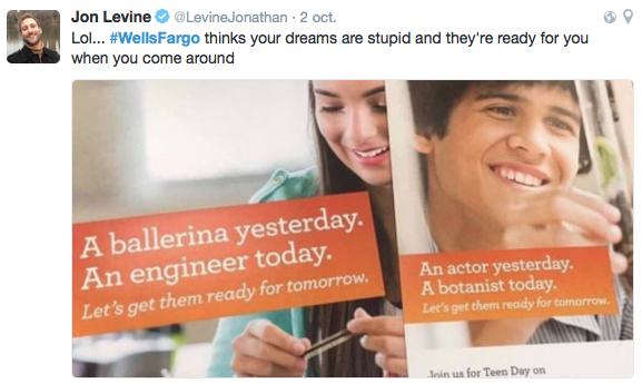 """Tuit que critica el lanzamiento de la campaña de marketing en el Día de la Educación Financiera dirigida a los jóvenes donde los mensajes de Wells Fargo como: """"Hoy una bailarina. Mañana una ingeniera"""" o """"Hoy actor. Mañana botánico"""". han provocado una crisis online."""
