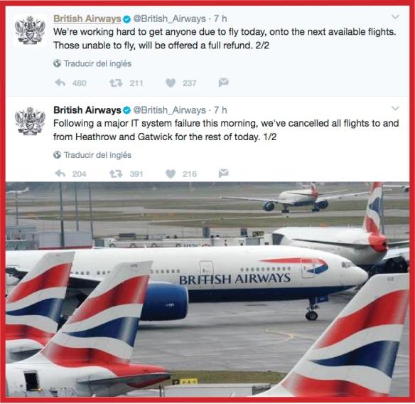 El video comunicado es el gran aliado del portavoz en comunicación de crisis. El caso del fallo global del sistema informático de la aerolínea Brithis Airways es un buen ejemplo de la importancia de actuar en tiempo real y empleando las redes sociales, en especial Twitter, para minimizar el primer impacto de la crisis y de cuándo debe se debe exponer el máximo CEO de una compañía como portavoz dentro de la estrategia de gestión de la comunicación.